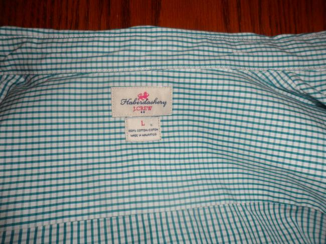 J.Crew Button Down Shirt Green and White Image 1