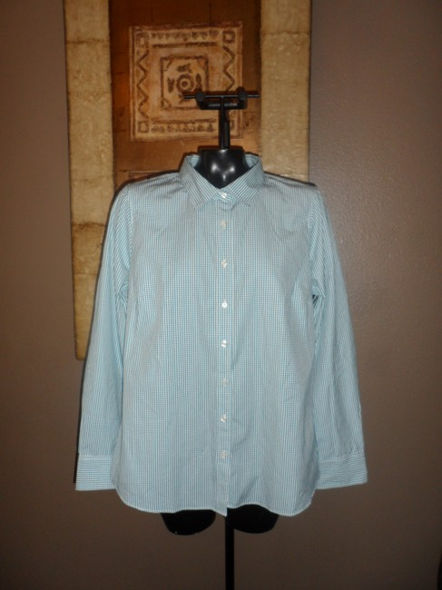 J.Crew Button Down Shirt Green and White Image 2