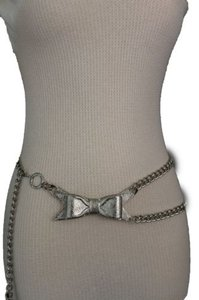 Other Women Silver Metal Chains Fashion Belt Bow Tie Charm Hip High Waist