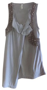 Robbi & Nikki by Robert Rodriguez Beaded Ruffle Draped Top Gray