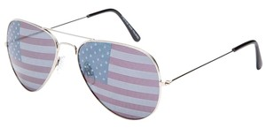 Silver Metal American Flag Sunglasses