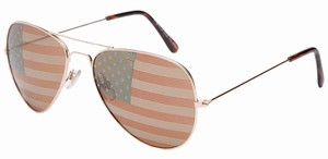 Gold Metal American Flag Sunglasses