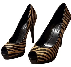 BCBGeneration Animal Open Toe Black and Print Platforms