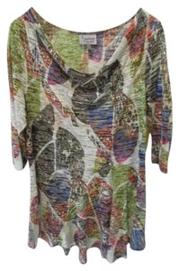 Lynn Ritchie Draped Neck 3/4 Sleeve Burnout Casual Tunic