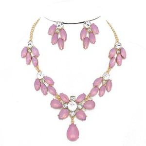 Pink Rhinestone Crystal Petal Accent Necklace and Earrings