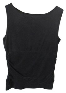 A'nue Ligne Sleeveless Ruched Scoop Neck Basic Top Black