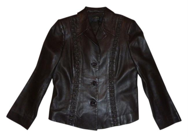 Dana Buchman Leather and wool two piece suit