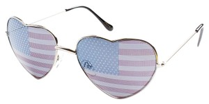 Other Silver American Flag Heart Sunglasses