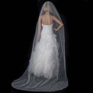 Elegance by Carbonneau Ivory Long Beaded Crystal Edge Cathedral Bridal Veil