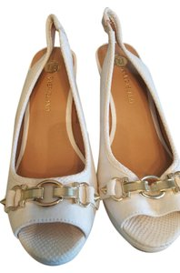 River Island Heels Designer Gold Buckled Heels white Wedges