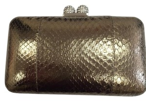 Serpui Snake Skin Evening Fromal Evening pewter Clutch