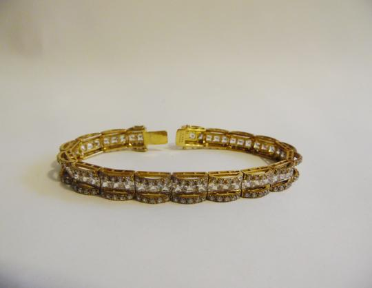 Victoria Wieck Victoria Wieck .925 Sterling Silver/Vermeil Absolute Princess and Round Bridge Bracelet size 7.5