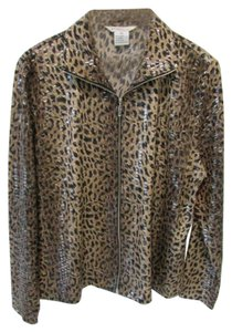 Misook Zip Up Animal Print Brown Jacket