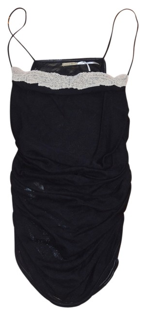 Max Studio Sexy Spaghetti Strap Embellished Fitted Silk Black Long Top