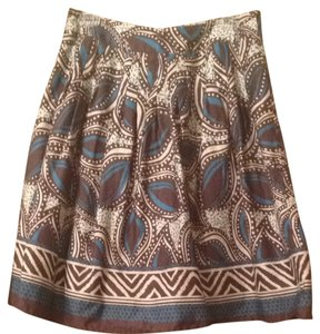 St. John's Bay Skirt Brown, Blue Cream