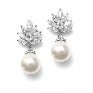 Mariell Creme/Silver Pearl and Cz Earrings