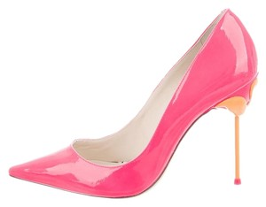 Sophia Webster Coco Flamingo Patent Leather Neon Pink Pumps