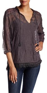 Johnny Was Edgy Embroidered Silk Tunic