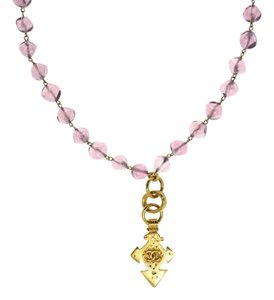 Chanel Chanel Rare Glass Beaded Gold Pendant Necklace