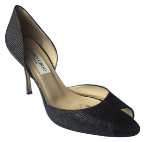 Jimmy Choo Peep Toe Glitter Heel Black Pumps