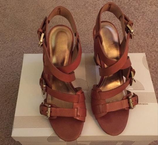 Sigerson Morrison Leather Chunky Heel Cuoio Sandals