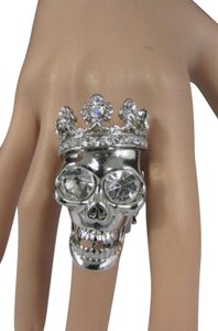 Other Women Skull King Crown Ring Silver Rhinestones Elastic Band
