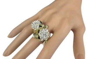 Other Women Gold Metal Two Skulls Fashion Ring Silver Rhinestones Elastic Band