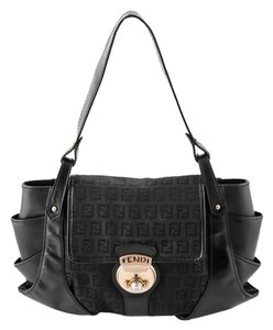 Fendi Leather Canvas Shoulder Bag