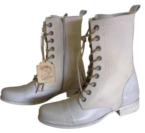 Diesel Combat Leather Canvas Side Zip White Boots