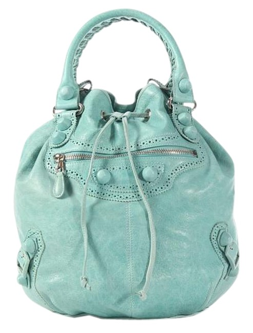 Item - 2009 Large Giant Covered Brogues Pompon Agneau Maldives Green Lambskin Leather Satchel