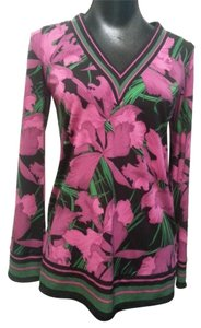 MICHAEL Michael Kors Green V-neck Top Pink and Black