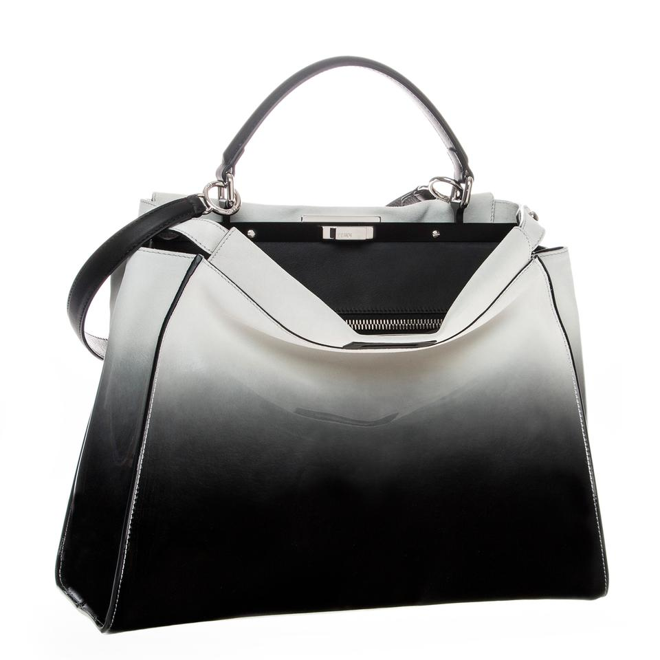 34fe9723f8 Fendi Large Peekaboo Ombre Patent-suede   Black  White Leather and Suede  Satchel