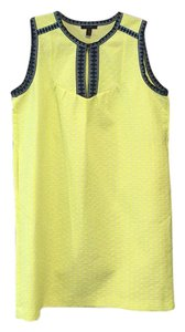 J.Crew short dress Neon yellow with dark/light blue trim on Tradesy