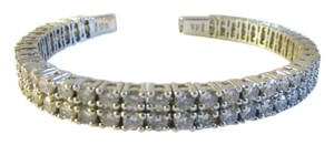 Victoria Wieck Victoria Wieck of Beverly Hills Flexible Absolute Diamond .925 Sterling Silver CZ Cuff Double Row Bracelet Fits 6 1/2 to 7 wrist