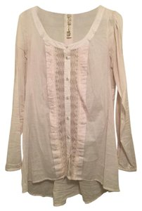 Free People Lace Button Down Shirt White