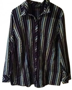 Lane Bryant Button Down Shirt Navy with stripes