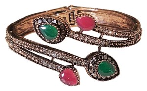 Other Bohemian Vintage Style Bangle Emerald Green and Ruby Red Rhinestones