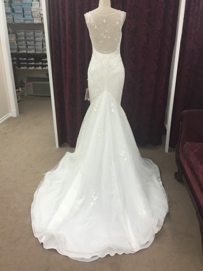 Pronovias Off White Lace Tulle Soft Mermaid Lagara Traditional Wedding Dress Size 10 (M)