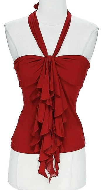 Item - Red Bandeau Ruffle Halter Top Size 8 (M)