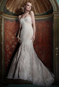 Matthew Christopher Champagne/Ivory French Lace/Silk Charmuse Sophia Formal Wedding Dress Size 8 (M)
