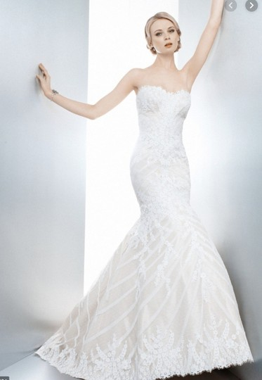 Matthew Christopher Champagne/Ivory French Lace/Silk Charmuse Sophia Formal Wedding Dress Size 8 (M) Image 1