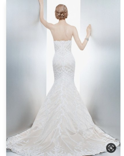 Matthew Christopher Champagne/Ivory French Lace/Silk Charmuse Sophia Formal Wedding Dress Size 8 (M) Image 2