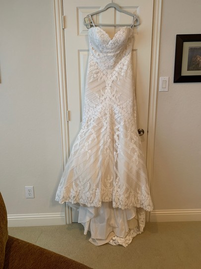 Matthew Christopher Champagne/Ivory French Lace/Silk Charmuse Sophia Formal Wedding Dress Size 8 (M) Image 3