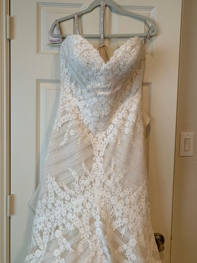 Matthew Christopher Champagne/Ivory French Lace/Silk Charmuse Sophia Formal Wedding Dress Size 8 (M) Image 4