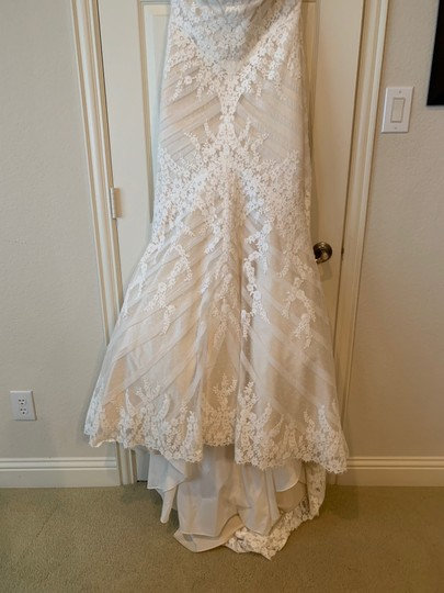 Matthew Christopher Champagne/Ivory French Lace/Silk Charmuse Sophia Formal Wedding Dress Size 8 (M) Image 5