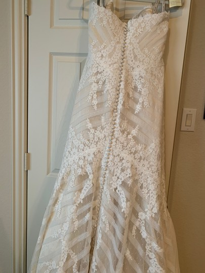 Matthew Christopher Champagne/Ivory French Lace/Silk Charmuse Sophia Formal Wedding Dress Size 8 (M) Image 6