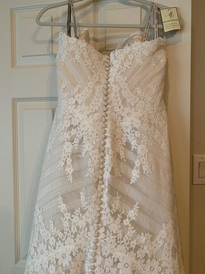 Matthew Christopher Champagne/Ivory French Lace/Silk Charmuse Sophia Formal Wedding Dress Size 8 (M) Image 7