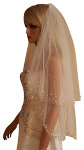 Wedding 2 Tier Beaded Faux Pearl Elbow Length Veil With Comb