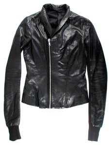 Rick Owens Asymmetrical Zipper Black Leather Jacket