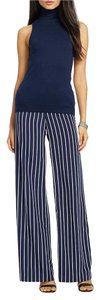 Ralph Lauren Wide Leg Pants Navy/Pearl (white)